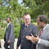USG Jeffrey Feltman and  President, Sheikh Hassan Mohamud at Villa Somalia in  Mogadishu. AU-UN IST PHOTO/Tobin Jones