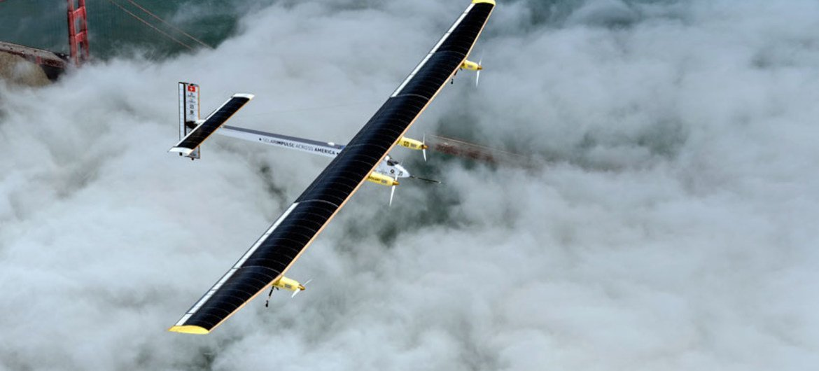 Solar Impulse, an aircraft that can fly day and night without fuel, on a test flight over San Francisco.