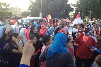 Une manifestation au Caire en juillet 2013. Photo : Centre des nouvelles de l'ONU