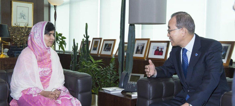 Secretary-General Ban Ki-moon with Malala Yousafzai, the young education rights campaigner from Pakistan.