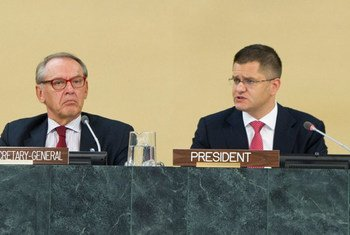 General Assembly President Vuk Jeremić (right) addresses informal interactive hearings.