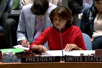 Rosemary DiCarlo, diplomate américaine nommée Secrétaire générale adjointe aux affaires politiques, lors d'une réunion du Conseil de sécurité (archives)