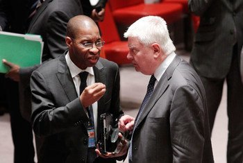Under-Secretary-General for Peacekeeping Operations Hervé Ladsous (right) speaks with Ambassador Youssoufou Bamba of Côte d'Ivoire.