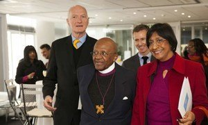 From left: Justice Edwin Cameron of the South African Constitutional Court, Archbishop Emeritus Desmond Tutu, and UN Human Rights chief Navi Pillay arriving for the unveiling of the 'Free & Equal' campaign.