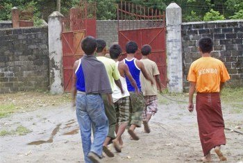 A group of captured child soldiers in Myanmar's northern Kachin State.