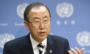 Secretary-General Ban Ki-moon briefs the press.
