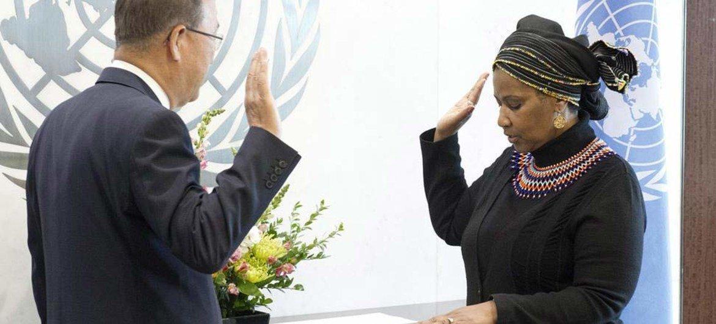 Secretary-General Ban Ki-moon (left) swears in Phumzile Mlambo-Ngcuka as new Executive Director of UN Women.