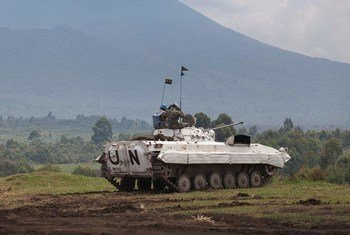 Des Casques bleus de la MONUSCO à Kibati, dans l'est de la RDC.