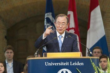 Secretary-General Ban Ki-moon delivers the 2013 Freedom Lecture at Leiden University in The Hague.