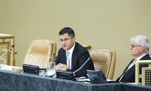 General Assembly President Vuk Jeremic (left) addressing the Ad Hoc Working Group on the Revitalization of the Work of the Assembly.