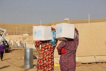 distribution d'aisde alimentaire aux réfugi+s syriens à Kawrgosk en Iraq.