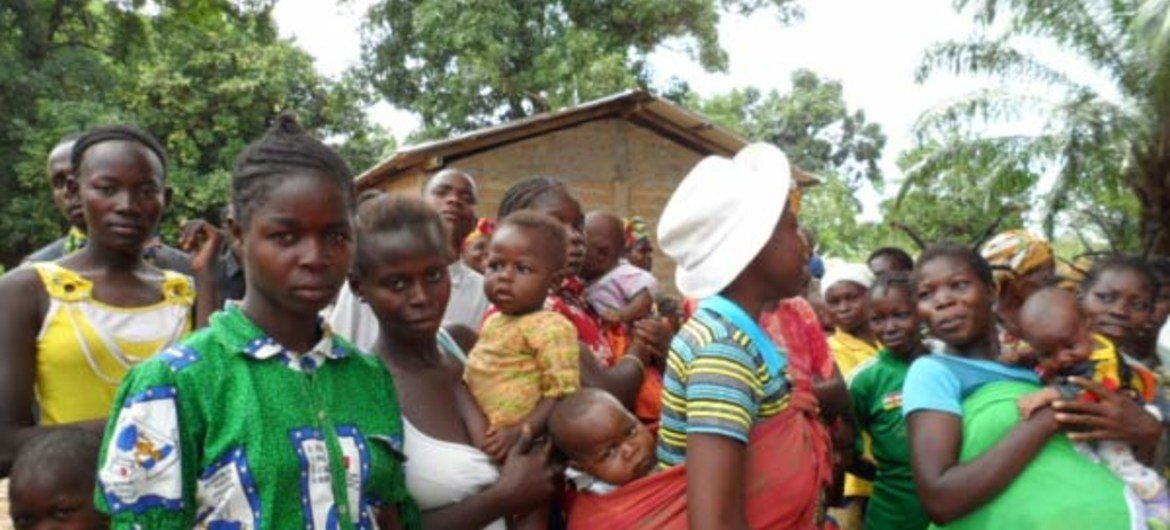 Beneficiaries waiting for their monthly food ration in the Central African Republic.