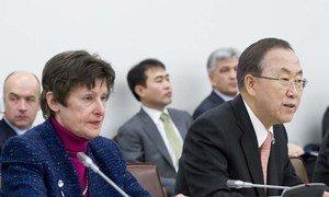 Secretary-General Ban Ki-moon (right) and Angela Kane, UN High Representative for Disarmament Affairs.