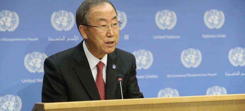Secretary-General Ban Ki-moon briefs the press on Syria.