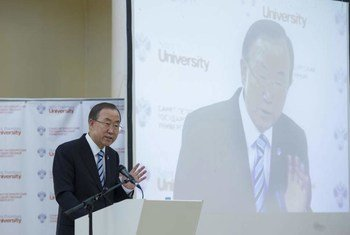 Secretary-General Ban Ki-moon delivers remarks at St. Petersburg State University, Russian Federation.