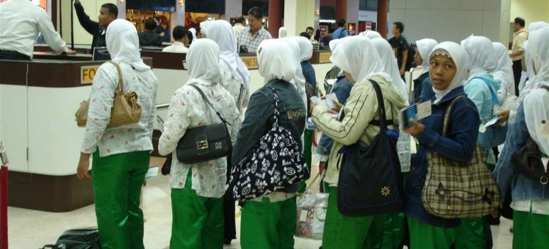 A l'aéroport international de Sukarno-Hatta, à Djakarta, des milliers de femmes quittent chaque année l'Indonésie pour travailler comme domestiques.