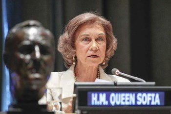Queen Sofía of Spain speaks at the ceremony where she accepted the 2012 Franklin D. Roosevelt International Disability Rights Award.