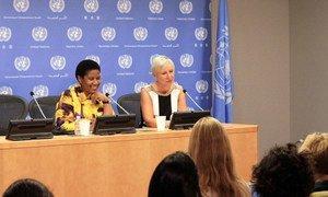 UN Women Executive Director Phumzile Mlambo-Ngcuka and Nanette Braun, Chief of Communications and Advocacy, address press.
