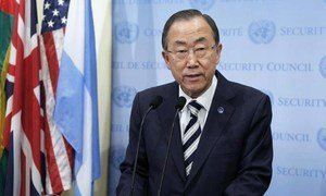 Secretary-General Ban Ki-moon speaks to reporters following Security Council consultations on Syria.