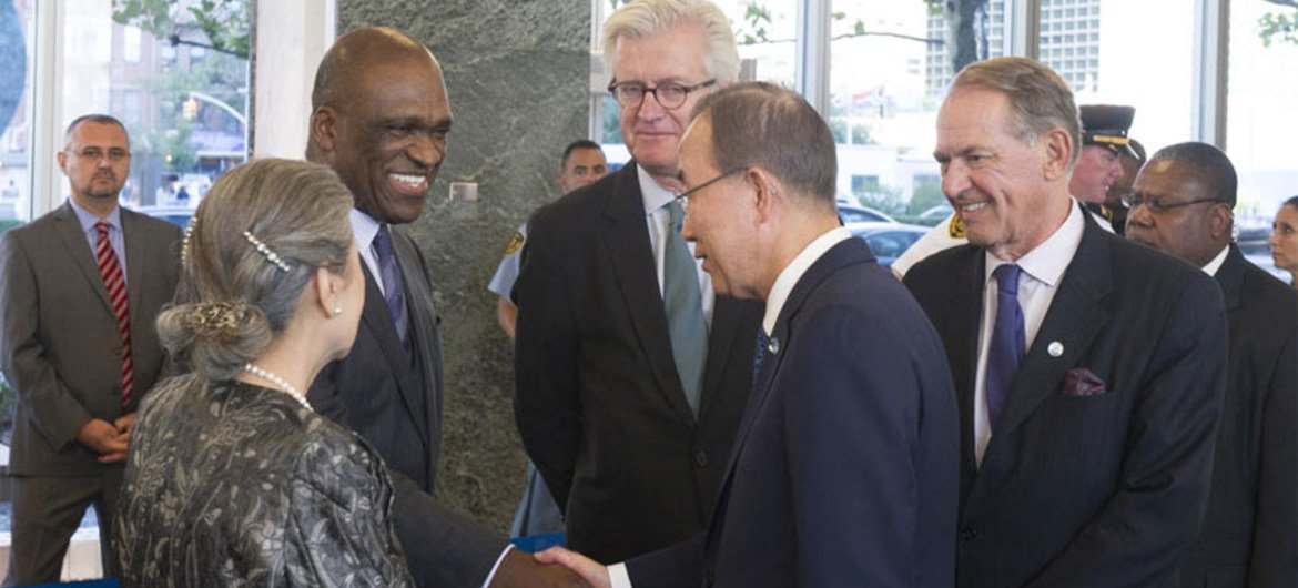 Secretary-General Ban Ki-moon (right) and John Ashe, President of the 68th Session of the United Nations General Assembly.