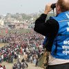 A monitor working for the now concluded United Nations Mission in Nepal (UNMIN).