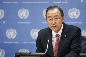 Secretary-General Ban Ki-moon speaks to journalists at the launch of the 2013 MDG Gap Task Force Report.