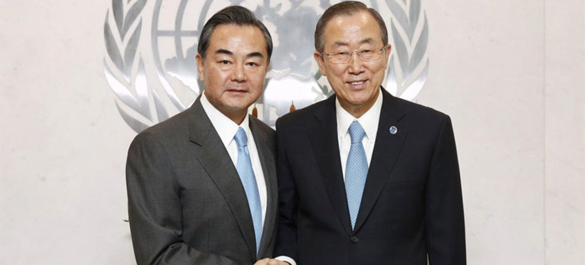Secretary-General Ban Ki-moon (right) meets with Foreign Minister Wang Yi of the People's Republic of China.