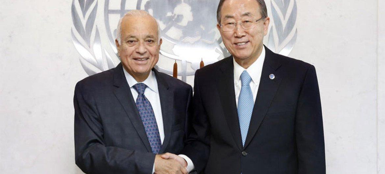 Secretary-General Ban Ki-moon meets with Nabil Elaraby, Secretary-General of the League of Arab States.