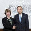 Secretary-General Ban Ki-moon (right) meets with Catherine Ashton, High Representative for Foreign Affairs and Security Policy of the European Union.