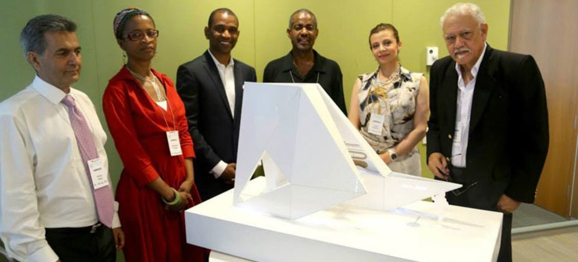 """Judges, Rodney Leon and the """"Ark of Return,"""" the winning design for the Permanent Memorial in Honour of the Victims of Slavery and the Transatlantic Slave Trade."""