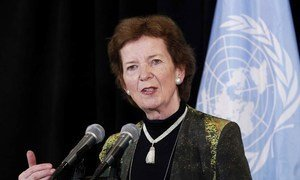 United Nations Special Envoy for Climate Change Mary Robinson briefs journalists (September 2013).