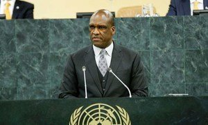 John Ashe, President of the 68th General Assembly, addresses the opening of the General Debate.