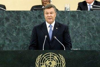 Le Président ukrainien Viktor Yanukovych. Photo ONU/Paulo Filgueiras