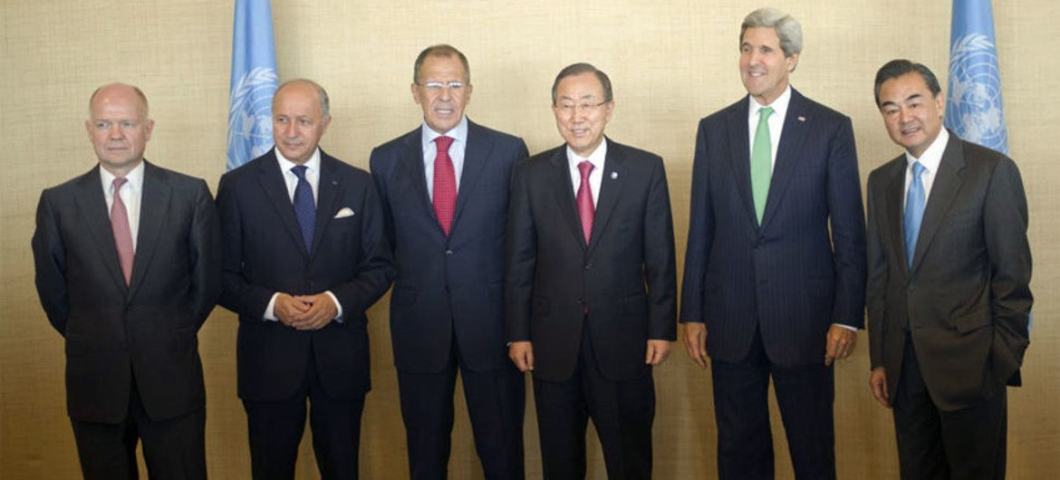Secretary-General Ban Ki-moon  with Foreign Ministers of the five permanent members (P5) of the Security Council.