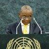 Le Premier ministre du Lesotho, Thomas Motsoahae Thabane lors de l'Assemblée générale en septembre 2013. Photo ONU/Sarah Fretwell