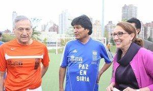 From left: UNDP Director for Latin America and the Caribbean Heraldo Muñoz, Bolivian President Evo Morales and UNDP Associate Administrator Rebeca Grynspan.