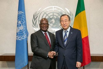 Secretary-General Ban Ki-moon meets with President Ibrahim Boubacar Keita at UN Headquarters.