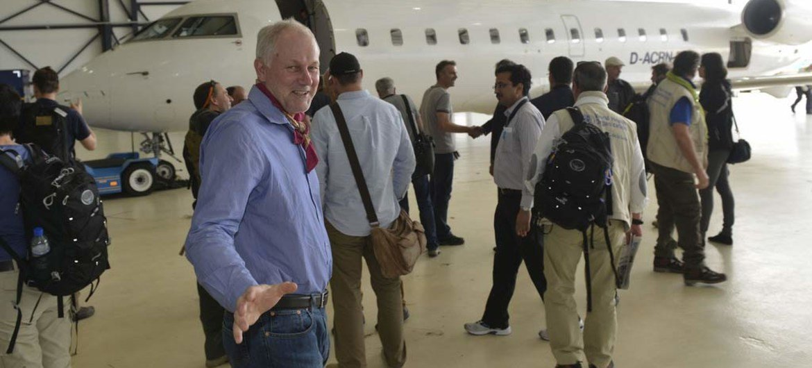 Head of the chemical weapons team working in Syria Åke Sellström (foreground) with other members in The Hague.