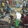 在刚果民主共和国边界附近的乌干达中转中心的刚果难民。 (资料)