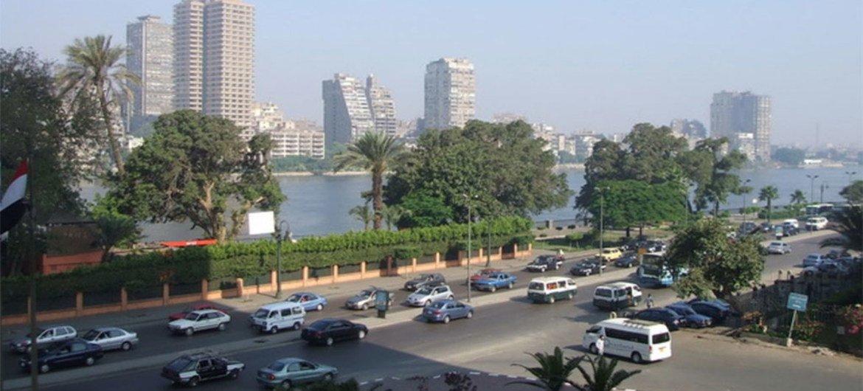 حركة التنقل الحضري في مدينة القاهرة ، مصر.