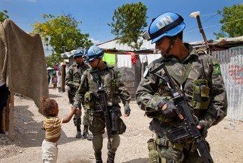 Brazilian peacekeepers with MINUSTAH patrolling the Bel Air neighborhood of Port-au-Prince, Haiti.