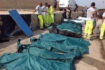 Muertos en Lampedusa (Foto archivo: ACNUR-ANSA)