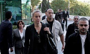 Special Coordinator of the OPCW-UN Joint Mission on eliminating Syria's chemical weapons programme, Sigrid Kaag (centre), arrives in Damascus, Syria.