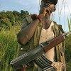 Child soldiers guard a road near Bunia, Ituri region, Democratic Republic of the Congo (DRC).