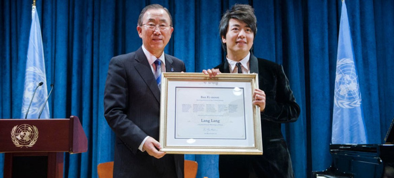 Secretary-General Ban Ki-moon and Chinese pianist Lang Lang, United Nations Messenger of Peace.