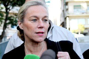 La Coordonatrice spéciale de la mission conjointe OIAC-ONU sur l'élimination du programme d'armes chimiques de la Syrie, en conférence de presse à Damas. (Photo d'archive) Photo ONU/AP Photo Pool