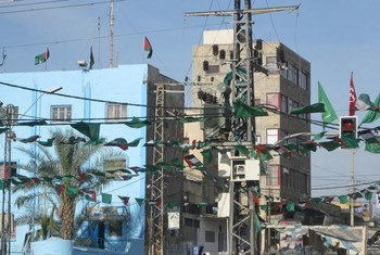 Electrical power transmission lines in Gaza City.