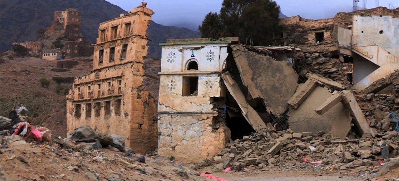 Destruction in Dammaj, northern Yemen.