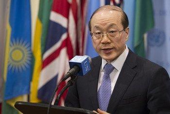 Le Représentant permanent de la République populaire de Chine à l'ONU, Liu Jieyi, qui assure la présidence du Conseil de sécurité en novembre.