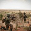Sierra Leonean troops with AMISOM conduct a foot patrol near the city of Kismayo in southern Somalia.